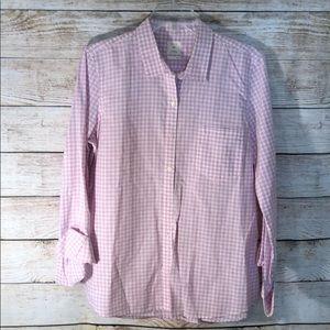 GAP Pink gingham fitted boyfriend shirt